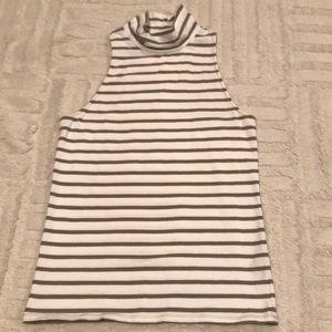 While/Olive Striped Mock Sleeveless Shirt